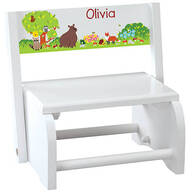 Personalized Children's White Woodland Animals Step Stool