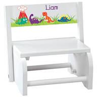 Personalized Children's White Dinosaur Step Stool