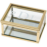 Personalized Gold Trim Glass Keepsake Box with Mirrored Bottom