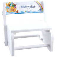 Personalized White Noah's Ark Step Stool