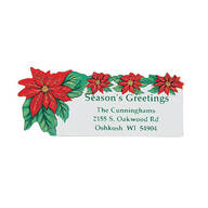 Poinsettia Return Address Labels - Set of 250