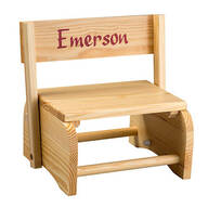Personalized Natural Wooden 2-in-1 Chair and Stepstool