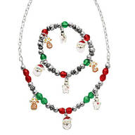 Child's Christmas Charm Bracelet and Necklace Val