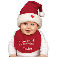 Personalized Childrens Christmas Hat & Bib Set