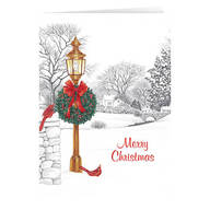 Personalized Lamppost Christmas Card Set of 20