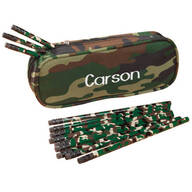 Personalized Camouflage Pencil Case and Pencil Set