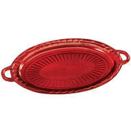 Red Glass Serving Platter