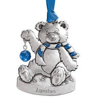 Personalized Pewter Birthstone Bear Ornaments
