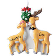 Personalized Kissing Reindeer Couple Ornament