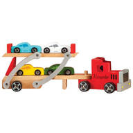 Personalized Wooden Carrier with Four Cars