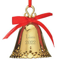 Personalized Gold Tone Plated Christmas Bell Ornament