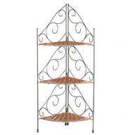Three Tier Wicker & Metal Corner Shelve by OakRidge™