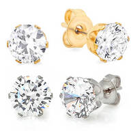 CZ Stud Earrings 2 Pair          VR