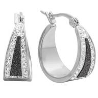 Black Diamond Dust Hoop Earrings