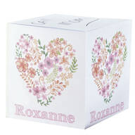 Personalized Floral Heart Self Stick Note Cube