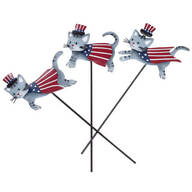 Metal Patriotic Cat Planter Stakes by Fox River™ Creations, Set of 3