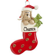 Personalized Happy Pup Stocking Ornament