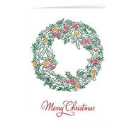 Personalized Christmas Wreath Christmas Card Set of 20
