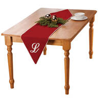 "72"" Monogramed Red Velvet Table Runner"
