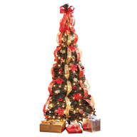 7-Ft. Pull-Up Fully Decorated Pre-Lit Poinsettia Tree by Holiday Peak™