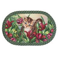 Kitten in Flowers Braided Rug by OakRidge™
