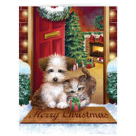 Personalized Puppy and Kitten Christmas Card Set of 20