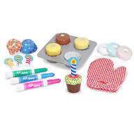 Melissa & Doug® Wooden Bake & Decorate Cupcake Set