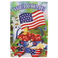 Welcome Americana Cherries and Birds Garden Flag