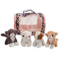 Meowing Kittens in Carrier, Set of 4