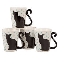 Cat Tail Mugs by Home-Style Kitchen, Set of 4