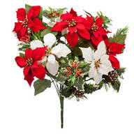 "21"" Poinsettia & Pinecone Bush by OakRidge™"