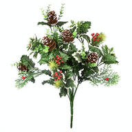 "18"" Holly Leaves and Pinecone Bush by OakRidge™"