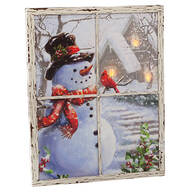 Lighted Snowman Window Canvas by Holiday Peak™