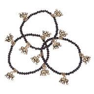 Gold Elephant Stretch Bracelet, Set of 3