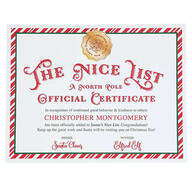 Personalized Santa Nice List Certificate