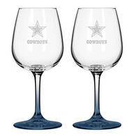 NFL Set/2 Etched Wine Glasses
