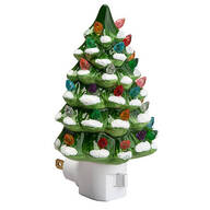 Green Snow-Capped Ceramic Tree Night Light