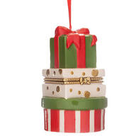 Stacked Presents Ornament Trinket Box