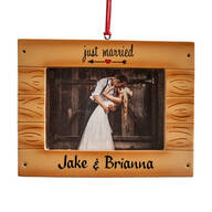 "Personalized ""Just Married"" Rustic Frame Ornament"