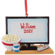 Personalized TV & Popcorn Ornament