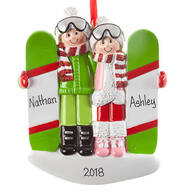 Personalized Snowboarding Couple Ornament