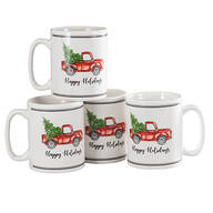 William Roberts Holiday Truck Mugs, Set of 4