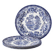 "Tonquin Blue by Queen's, 10"" Dinner Plates, Set of 4"