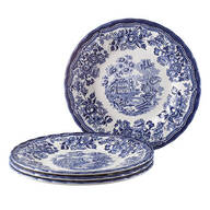 "Tonquin Blue by Queen's, 7 3/4"" Dessert Plates, Set of 4"