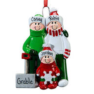 Personalized Shoveling Family Ornament