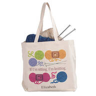 Personalized If I'm Sitting, I'm Knitting Tote