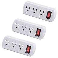 Triple Plug Adapter with Switch 3-Pack