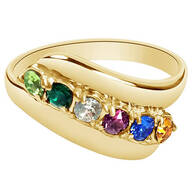 Birthstone Crystal Gold-Plated Bypass Ring - Miles Kimball
