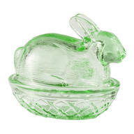 Green Glass Bunny Candy Dish