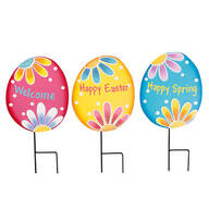 Metal Easter Egg Stakes Set of 3 by Fox River Creations™